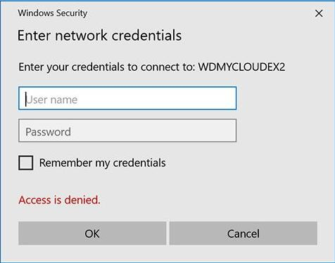 network credentials access error