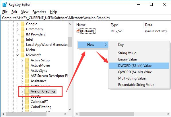 new dword 32bit value disablehwacceleration