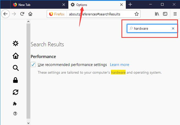 search hardware in firefox options window