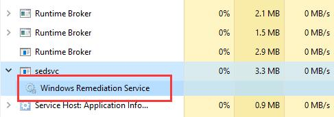 windows remediation service under sedsvc