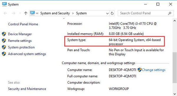 windows 10 64 pc installed memory