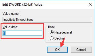 change inactivitytimeout secs value data to 0