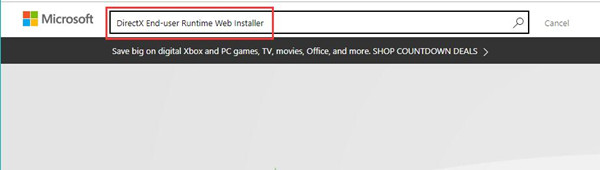 directx end user runtime web installer in microsoft site