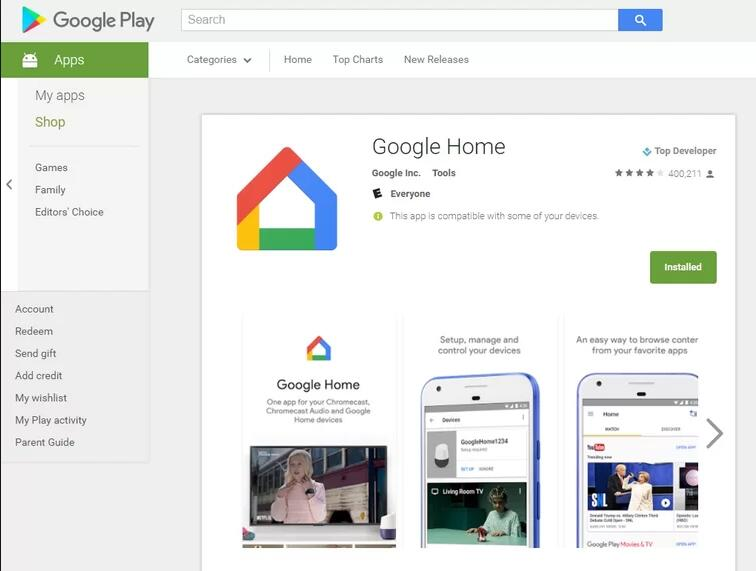download chrome home app in google play