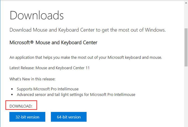 download microsoft mouse and keyboard center