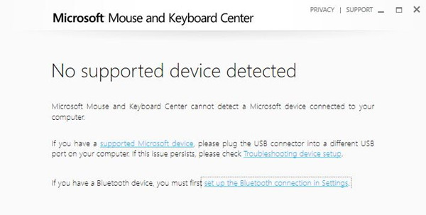 Fixed: Microsoft Mouse and Keyboard Center No Support Device