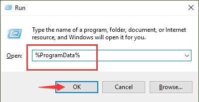 program data in run box