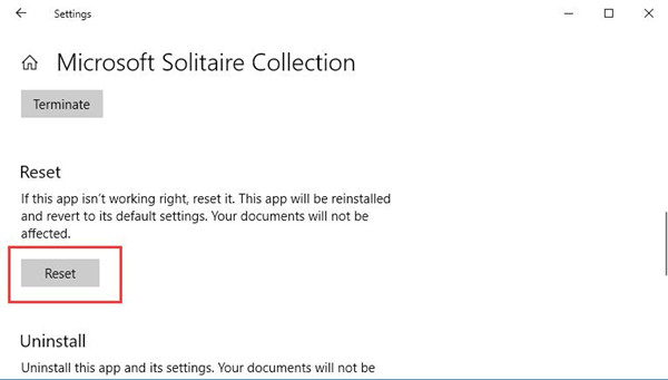 reset microsoft solitaire collection