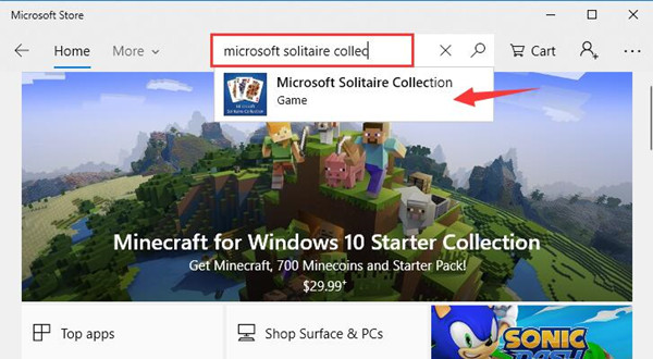 search solitaire in windows store
