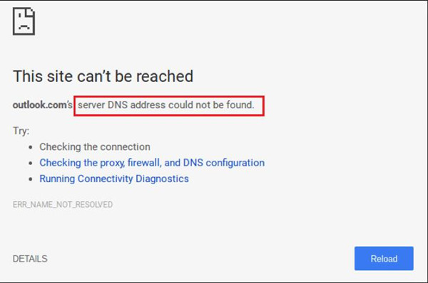 server dns address not found windows 10