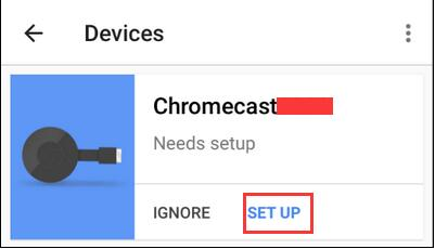 set up in chromecast