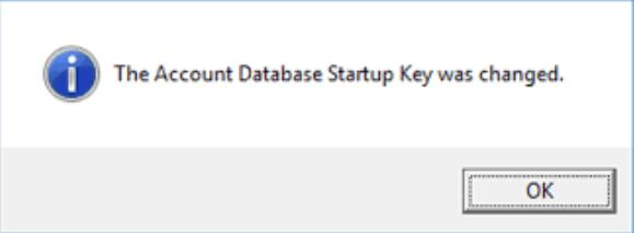 the account database startup key was changed