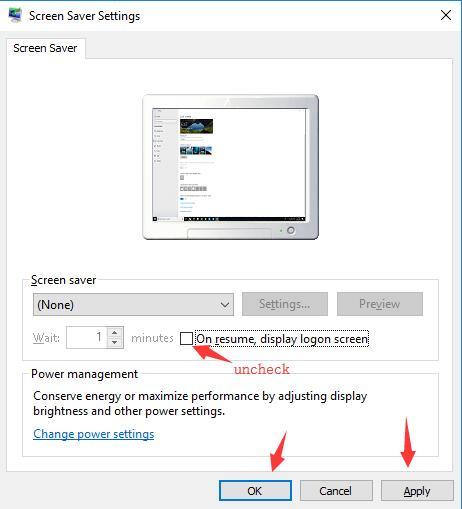 uncheck on resume display logon screen
