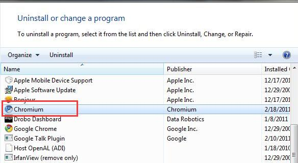 uninstall chromium in control panel