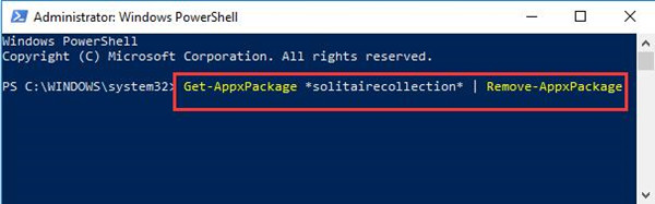 uninstall solitaire in powershell