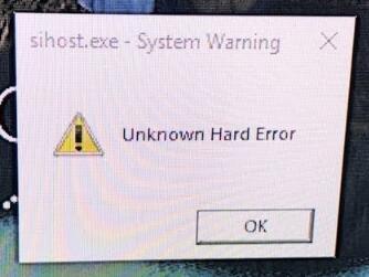 unknown hardware error