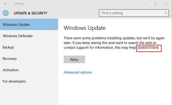 windows update 0x800705b4 error
