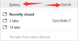 click history in chrome history tab