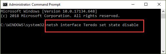 disable teredo network service