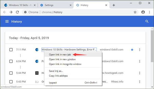 restore chrome tabs from history