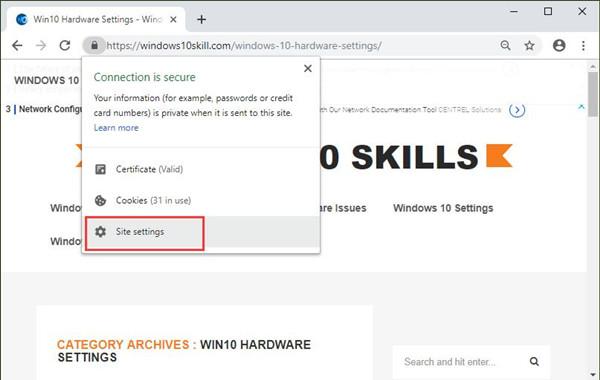 site settings in chrome
