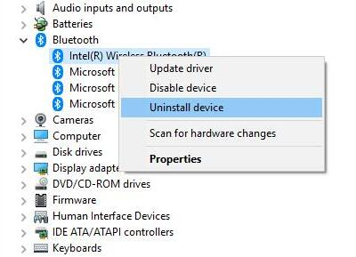 uninstall bluetooth device